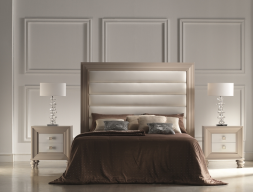 Dormitorio lacado con cabecero tapizado. Mod.  PASION20