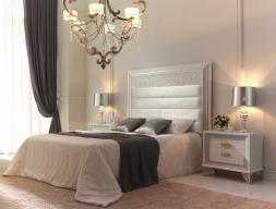 Dormitorio lacado con  cabecero tapizado. Mod. GA32