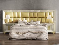 Dormitorio lacado con cabecero largo tapizado. Mod. KOR FFK29