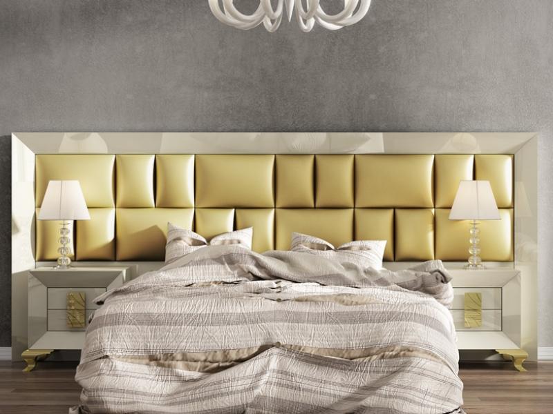 Dormitorio lacado con cabecero largo tapizado. Mod. AMELIE