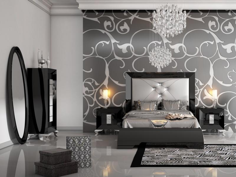 Dormitorio lacado con cabezal tapizado.Mod: LOANA