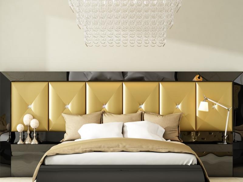 Dormitorio lacado con cabecero tapizado largo. Mod. ANNETTE