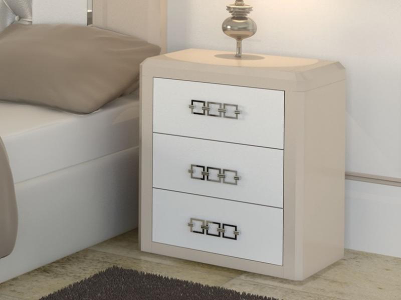 Dormitorio lacado con cabecero tapizado. Mod: MADEIRA