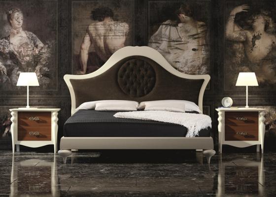 Dormitorio lacado con cabecero tapizado. Mod. PA39
