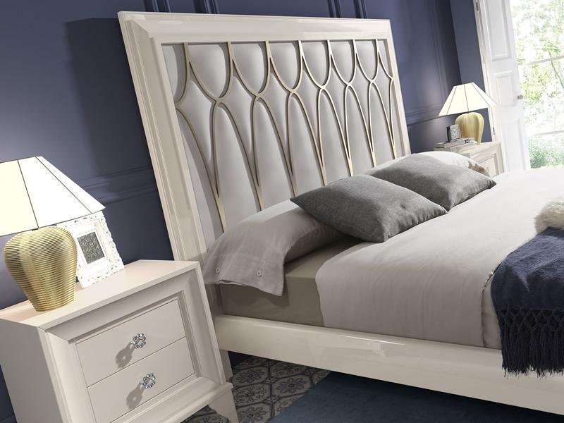 Dormitorio lacado con cabecero tapizado, mod: GA20