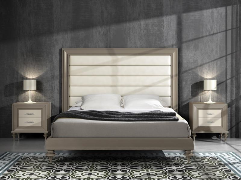 Dormitorio lacado con cabecero tapizado, mod: GA28