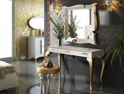 Conjunto de tocador , espejo y banqueta, mod: GOLD
