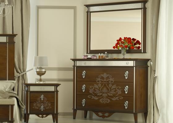 Conjunto de cómoda y espejo, mod: ROYAL-R