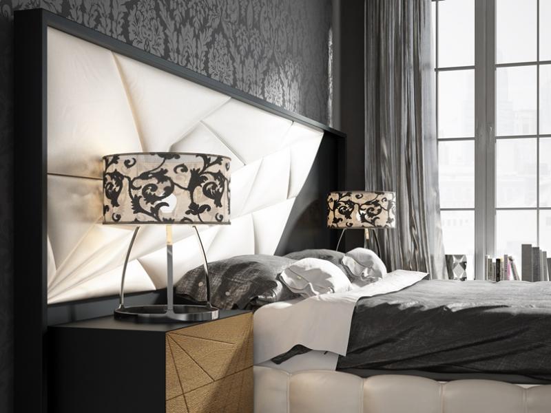 Dormitorio lacado , tapizado y en madera de roble. Mod: LINDE