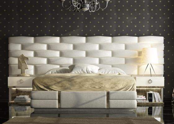 Dormitorio tapizado y  lacado con detalles en pan de champagne. Mod: VERDI