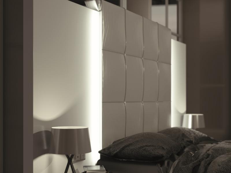 Dormitorio lacado y tapizado.Mod: ATHENEA