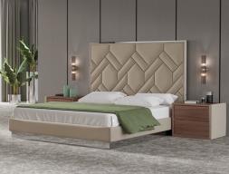Dormitorio tapizado con madera de nogal y acero inoxidable. Mod: DORIANNE