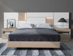 Dormitorio con cabecero extra largo en madera de roble. Mod: MONTERREY