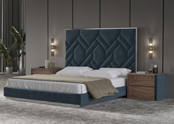 Dormitorio tapizado con acero inoxidable y  madera de nogal .Mod: DORIANNE INOX
