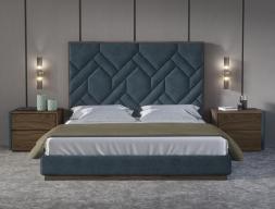 Dormitorio tapizado con con detalles en madera de nogal americano .Mod: DORIANNE NOGAL