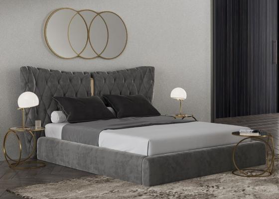 Dormitorio tapizado en capitonne con detalles en acero inoxidable. Mod: KAIPA
