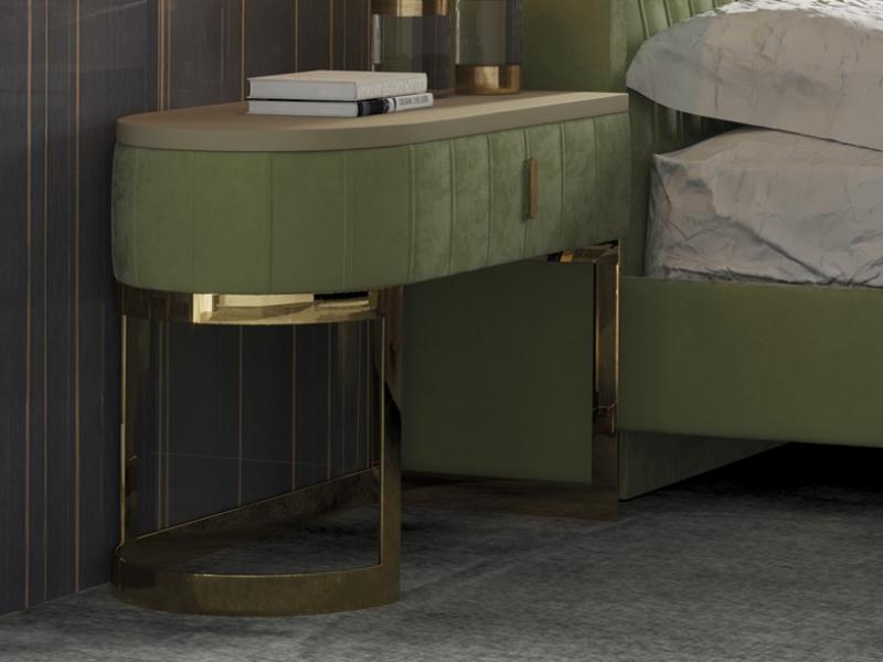 Dormitorio tapizado con detalles en acero inoxidable. Mod: CAMILE