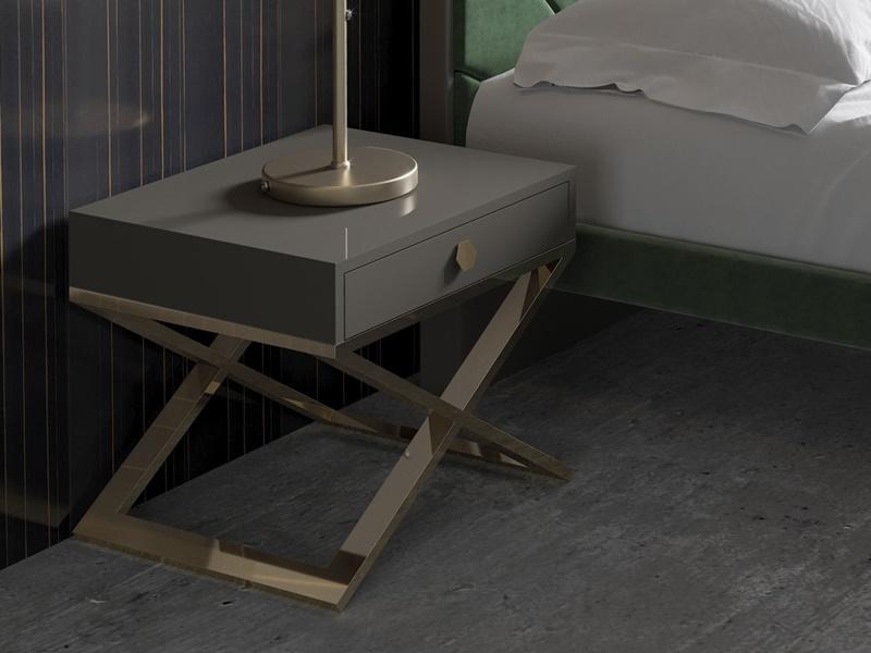 Dormitorio tapizado con detalles en acero inoxidable. Mod: BARDOT