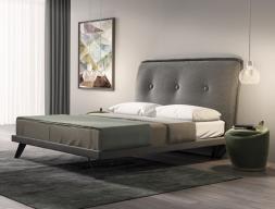 Dormitorio tapizado con detalles en acero inoxidable. Mod: PROVENCE