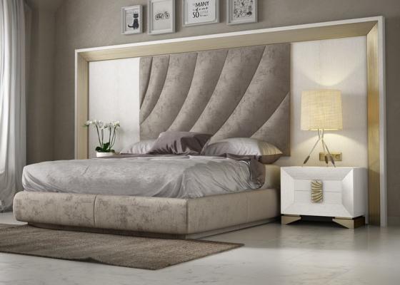Dormitorio en roble y tapizado de tamaño XXL.Mod: LAMA