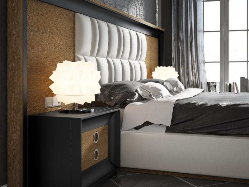 Dormitorio en roble con detalles lacados y tapizados. Mod: ZIBA