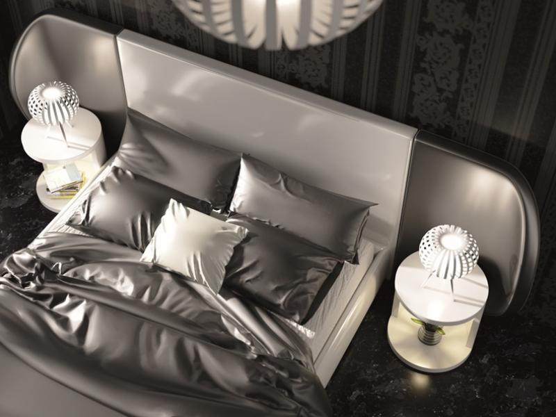 Dormitorio de dise�o lacado y tapizado.Mod: AYSEL
