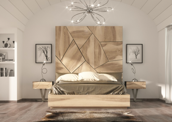 Dormitorio en madera de roble con detalles lacados,Mod: WINDSOR