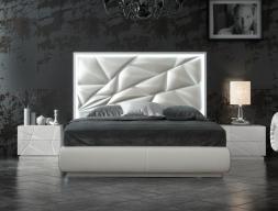 Dormitorio de diseño lacado y tapizado con luz led integrada. Mod: NAUGE LED
