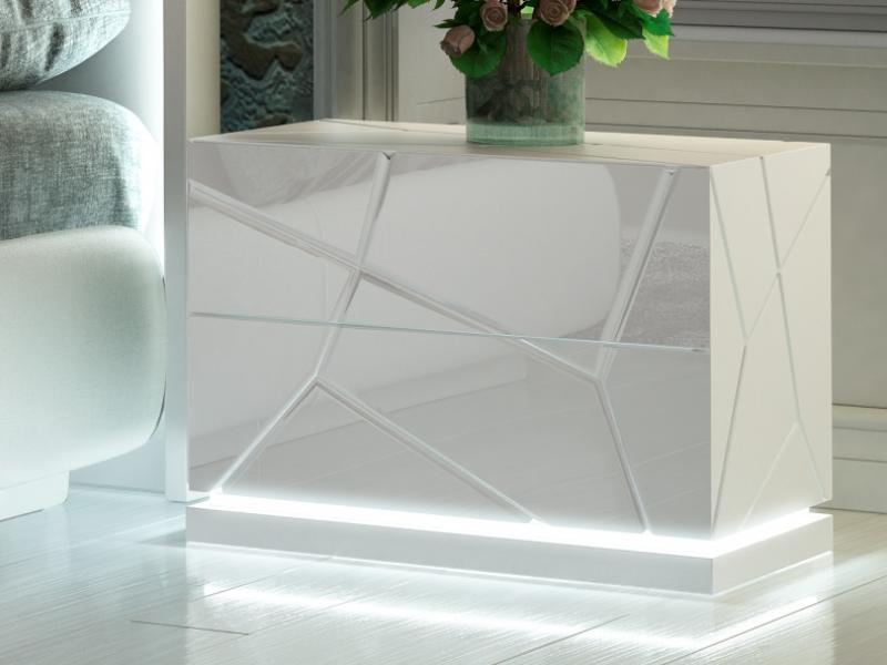 Dormitorio de dise�o lacado y tapizado con luz led integrada. Mod: NAUGE LED