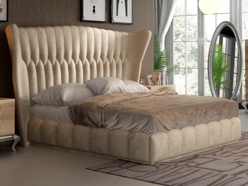 Dormitorio en roble y tapizado. Mod. NOEMI
