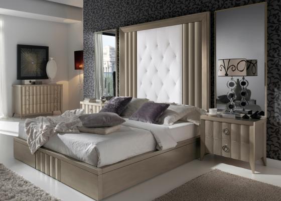 Dormitorio tapizado y lacado. Mod: LOYRA CHAMPAGNE