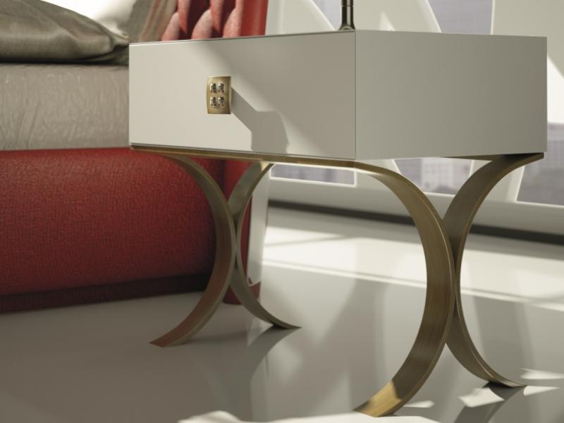 Dormitorio lacado y tapizado en capitonne con botones de Swarovski. Mod: GOLDA