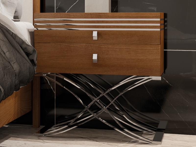 Dormitorio en nogal y tapizado. Mod. ACIER