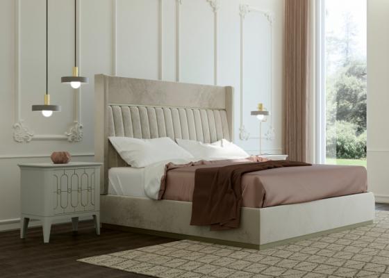 Dormitorio de diseño tapizado tapizado en terciopelo.Mod: ALYA VELVET