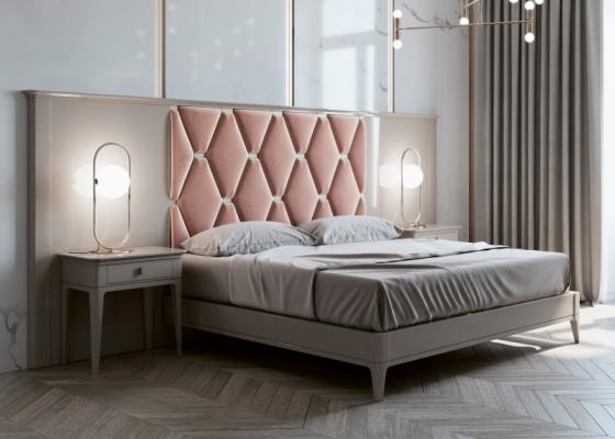Dormitorio con cabecero largo lacado y tapizado. Mod: DIMA