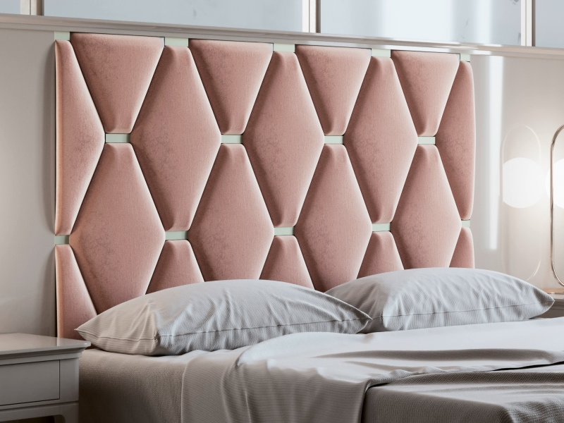 Dormitorio con cabecero largo lacado y tapizado. Mod: ANOUK