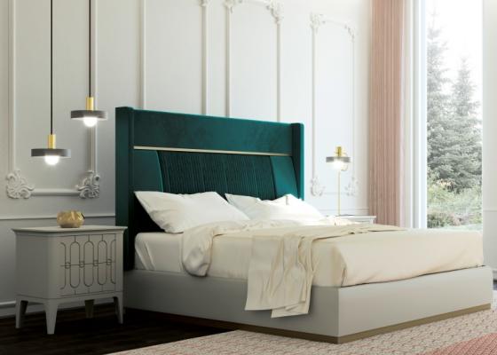 Dormitorio de diseño tapizado en terciopelo con base de cama lacada. Mod: ALYA