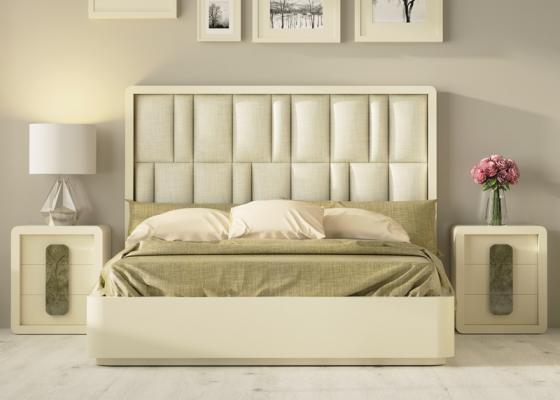 Dormitorio de diseño tapizado con bancada lacada.Mod: GLASS