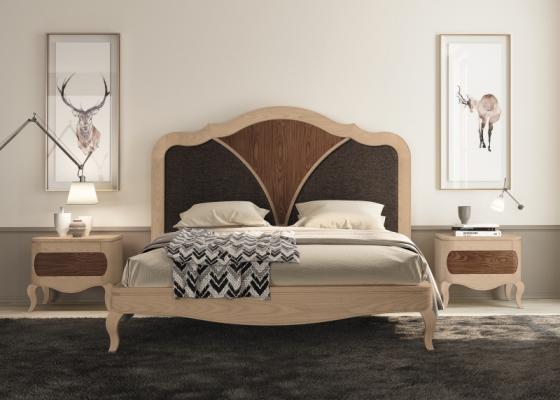 Dormitorio con cama en madera de nogal y tapizada. Mod: RAFFAELA