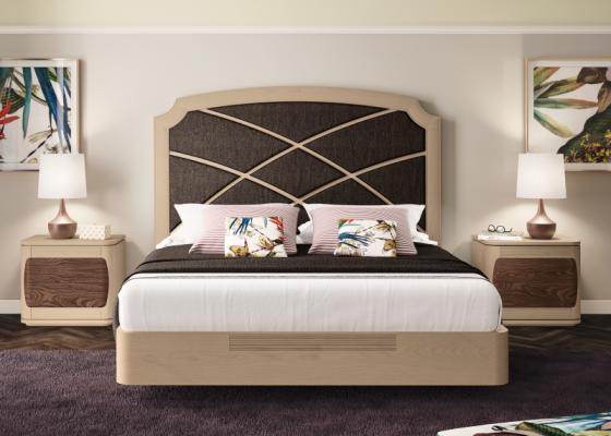 Dormitorio con cama en madera de fresno y tapizada. Mod: REGINA