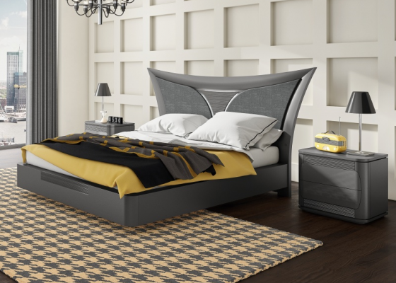 Dormitorio con cama lacada y tapizada. Mod: ARIANNA PL