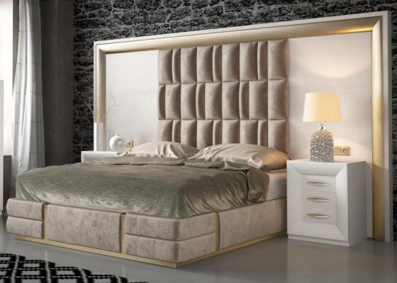 Dormitorio en roble , lacado y tapizado. Mod. SIMA