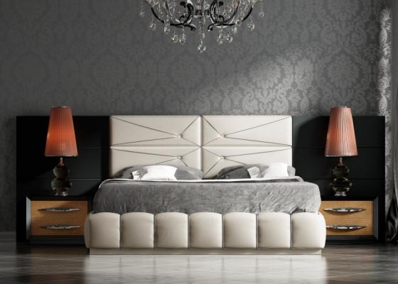 Dormitorio con cabecero largo lacado y tapizado.Mod: BASIMA