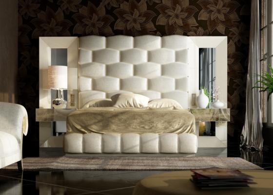 Dormitorio XXL lacado y tapizado. Mod. JANAAN