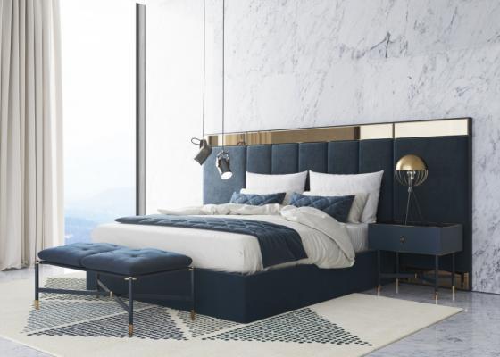 Dormitorio de diseño tapizado en terciopelo.Mod: MONSIEUR