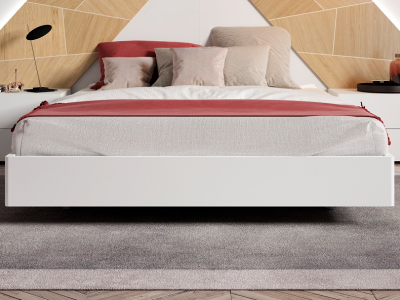 Dormitorio lacado con plafones centrales en madera de roble y luz led. Mod: SUZETTE