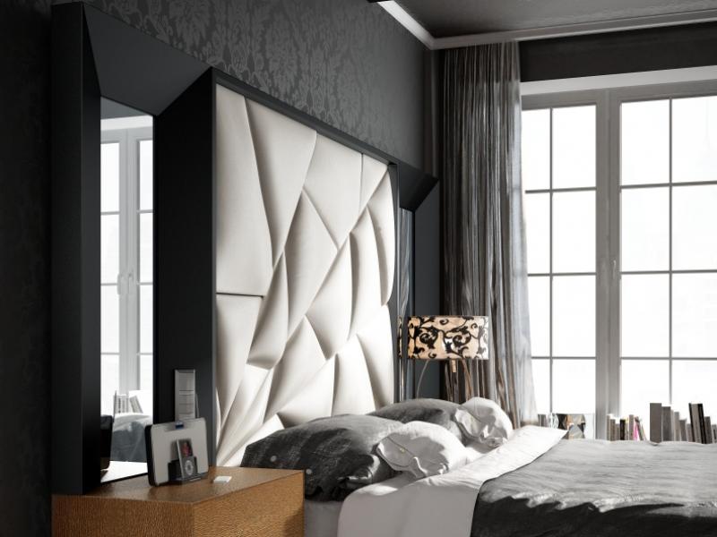 Dormitorio de dise�o lacado y tapizado. Mod: TAHIRA