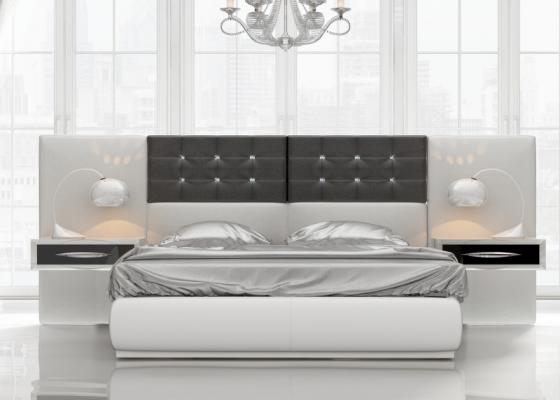 Dormitorio de diseño tapizado y lacado. Mod: ALEA