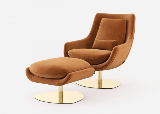 Conjunto de sillón relax giratorio y pouff. Mod: TELVA