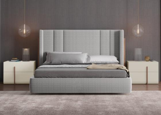 Dormitorio de diseño tapizado con detalles en madera de nogal americano. Mod: HABIBA